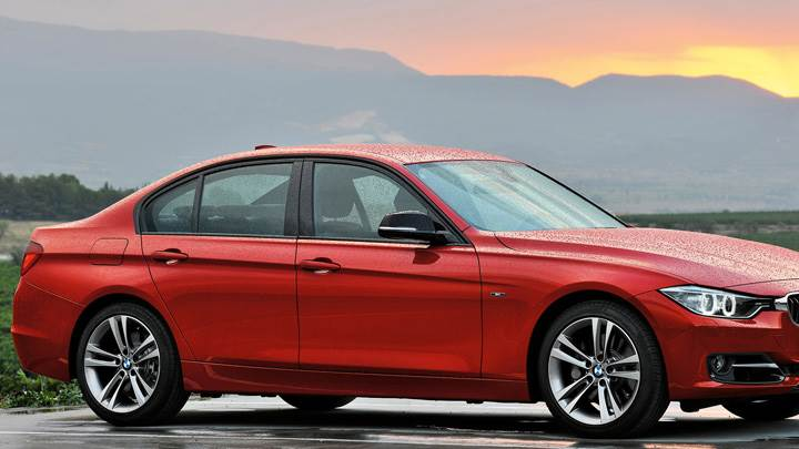 2012 BMW 3 Series Sedan F30 In Red After Rain Photoshoot